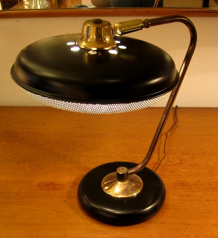 1950s Metal and Brass Task Lamp