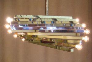 Sciolari 1970's Chromed Square Stock Spiral Chandelier