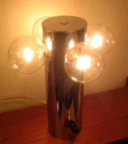 1970s Chrome Cylinder Lamp with Four Exposed Bulbs