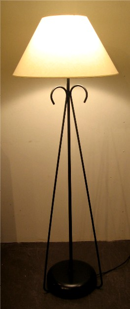 1950s Bent Iron Tripod Floor Lamp