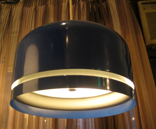 1970s Bright Blue Pendant Lamp by Lightolier