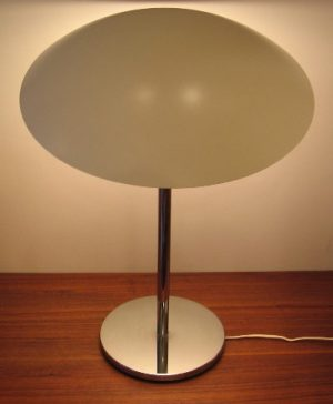 1970s Chrome and Lacquered Metal Table Lamp from France