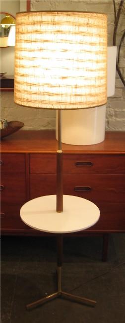 1950s Mahogany & Brass Floor Lamp with Table