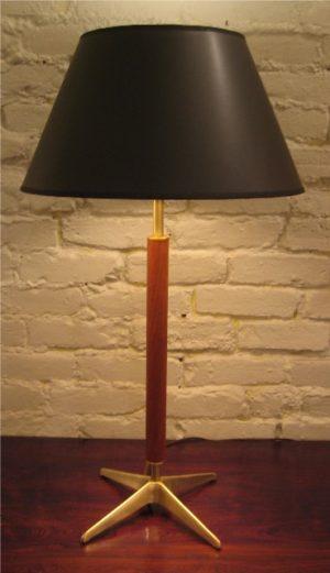 Stiffel 1950s Brass and Teak Table Lamp