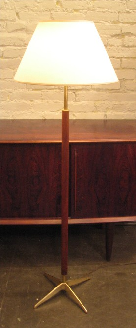 Stiffel 1950s Brass and Teak Floor Lamp