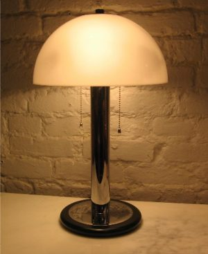 1970s Chrome, Lacquered Wood Domed Table Lamp