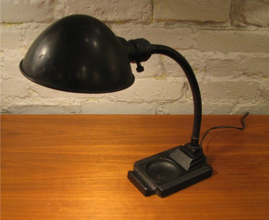1940s Gooseneck Student Lamp with Cast Iron Base