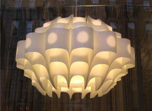 1960's Scandinavian Bent Plastic Pendant Lamp