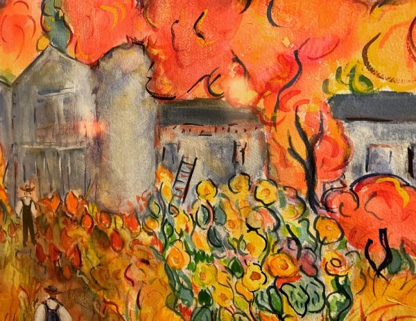1990s Expressionist Style Figurative Landscape Watercolor Painting by Francesca d'Elia, Framed