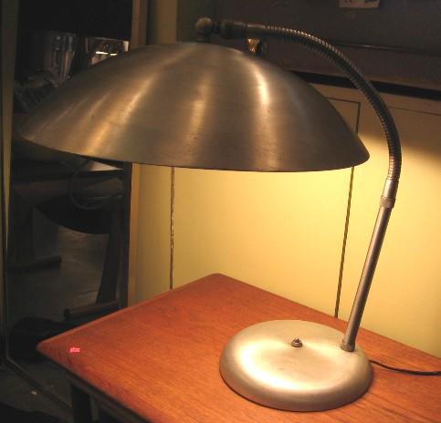 1950s Large Aluminum Saucer Desk Lamp