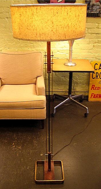 1950s Brass Flat Bar, Walnut and Iron Floor Lamp