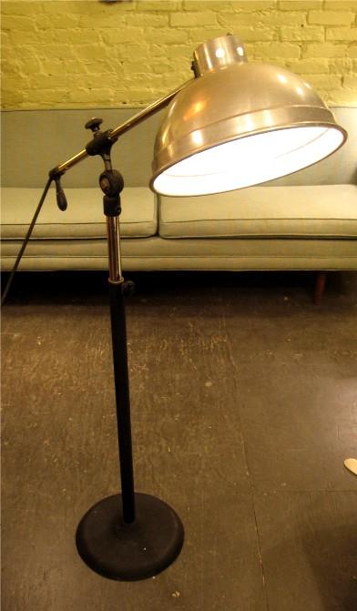 1950s Long Armed Articulating Industrial Floor Lamp