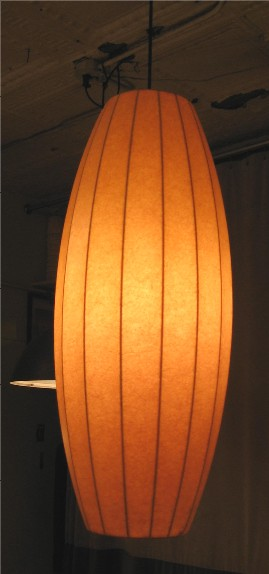 1950s Large Fiberglass and Wire Cigar Pendant Lamp