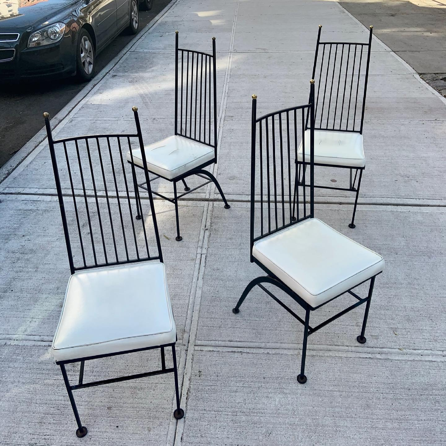 Elegant Wrought Iron High Back Dining Chairs Set