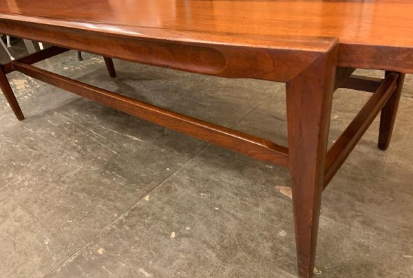 Walnut & Rosewood Surfboard Coffee Table from the 1950s