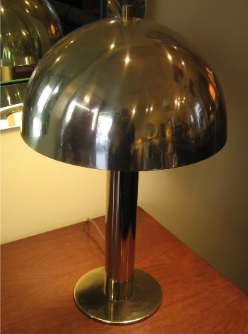 1970's Mushroom Shaped Brass & Aluminum Lamp