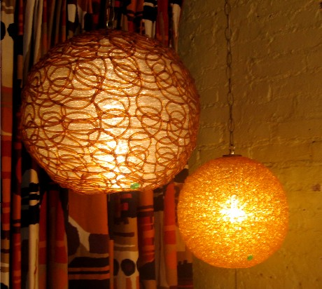Amber and Clear 1960s Spaghetti Pendant Lamp