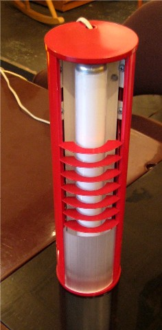 1970s Red Tubular Florescent Lamp