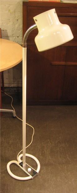 1970s White Metal Floor Lamp