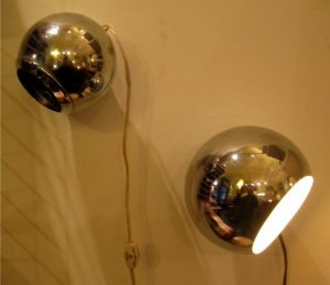 1970s Magnetic Chrome Orb Lamps
