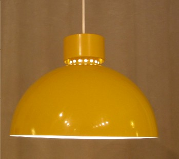 1970s Metal Dome Pendant Lamp by Lightolier in Mustard