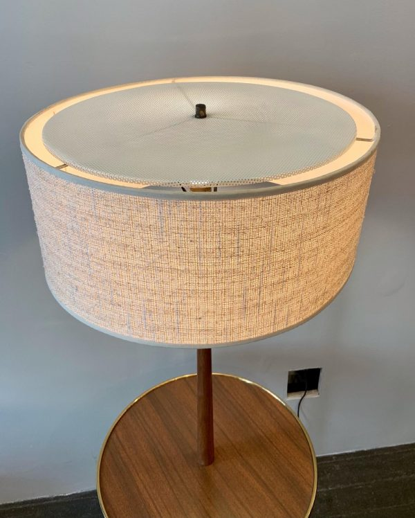 Walnut & Brass Floor Lamp with Table by Lightolier