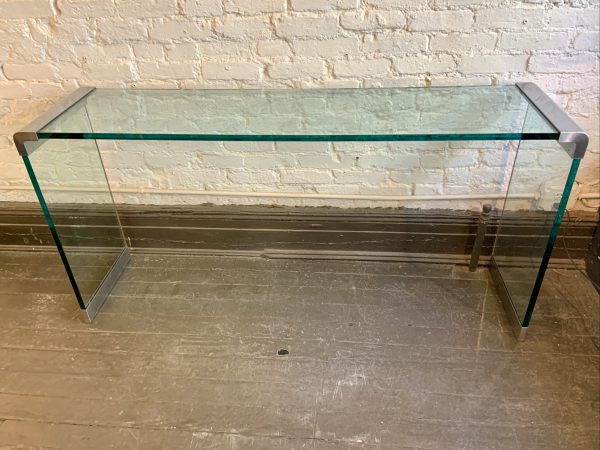 Nickel and Glass Console Table Attributed to Leon Rosen for Pace