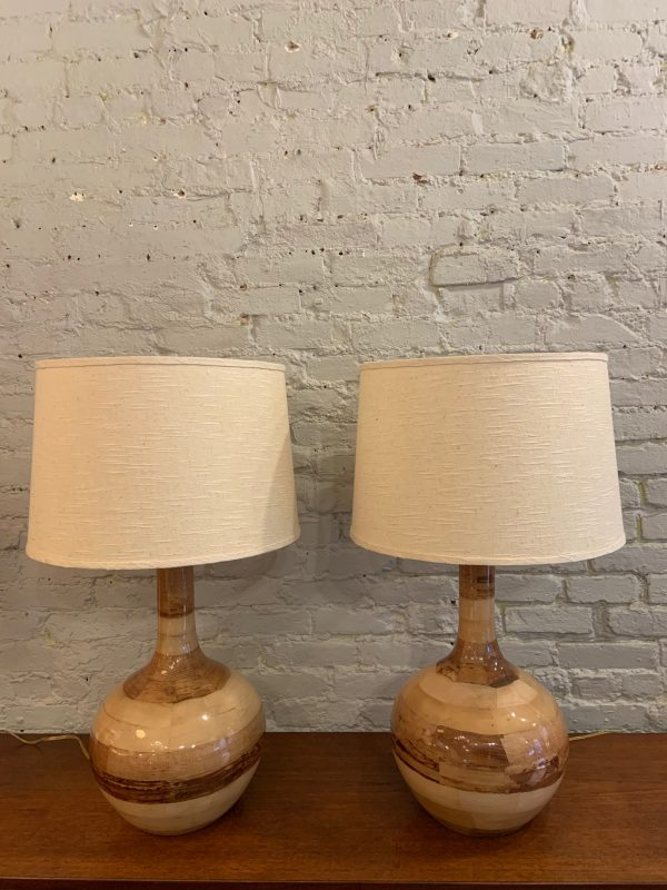Pair Of Large Palm Frond Veneered Lamps from the Philippines