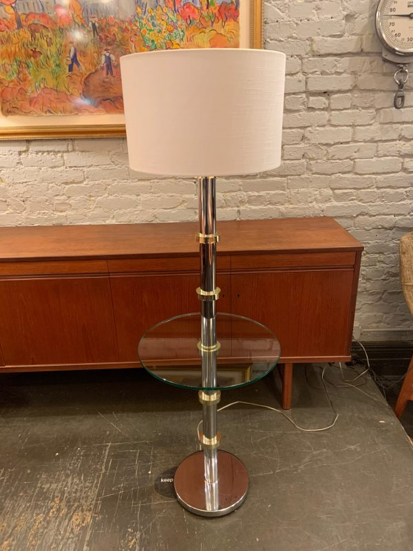 Chrome & Brass Floor Lamp with Glass Table