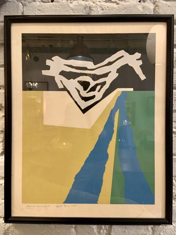 Framed Silk Screen by Harold Krisel, Split Blue, 1975