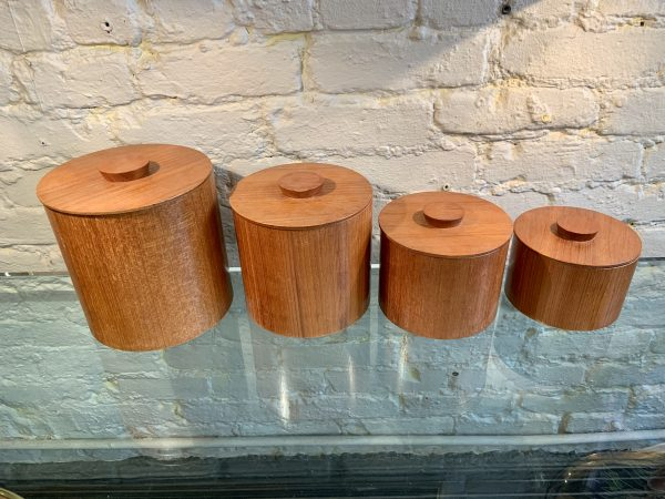 Set of Four Teak Canisters