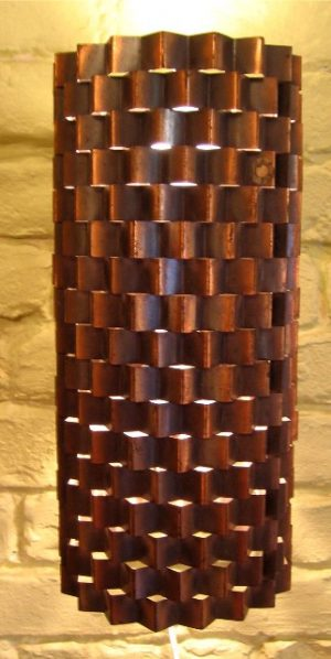 Crimped Copper Sculptural Wall Sconce