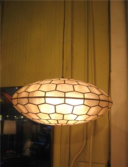 Capiz Shell and Brass Saucer Pendant Lamp