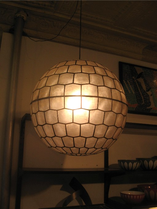 Capiz Shell and Brass Sphere Pendant Lamp