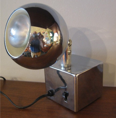 Chrome Cube and Ball Lamp by Tensor