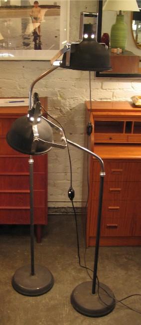 Black and Chrome Industrial Metal Floor Lamp