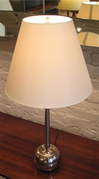 Chrome Apple Lamp with Elongated Neck