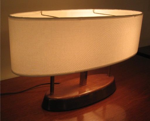 Brass and Walnut Oval Task Lamp from the 1950s