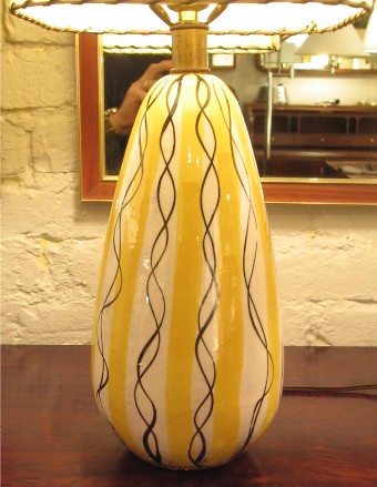 Ceramic Lamp with Squiggle Design from Italy