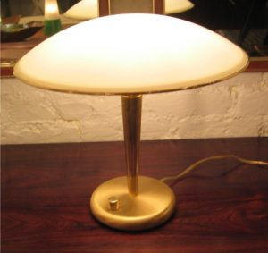 Brass & Aluminum, Saucer Domed Table Lamp from Italy