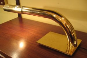Cantilevered Brass Cylinder Desk Lamp