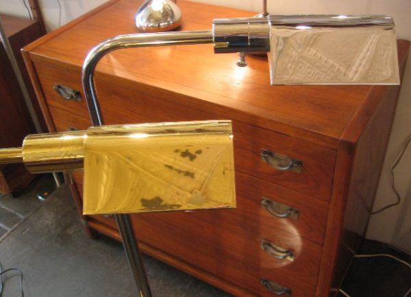 Brass & Chrome Pharmacy Lamp with Tent Shade