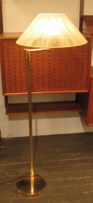Brass Swing Arm Floor Lamp with String Shade