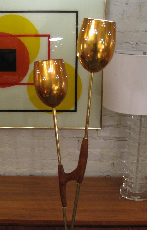Brass and Walnut Torchiere Lamp from Italy