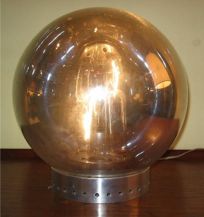 Chrome and Aluminum Globe Table Lamp