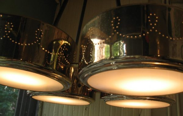 Ceiling Mounted Perforated Brass Lamp