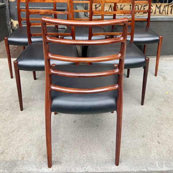 Set of Six Model 82 Dining Chairs by Niels Moller