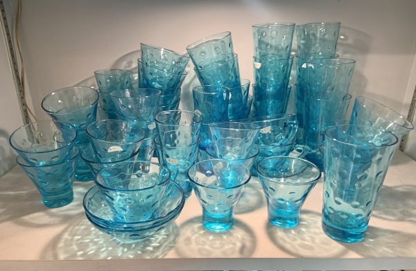 Capri Blue Dot Glasses by Hazel Ware