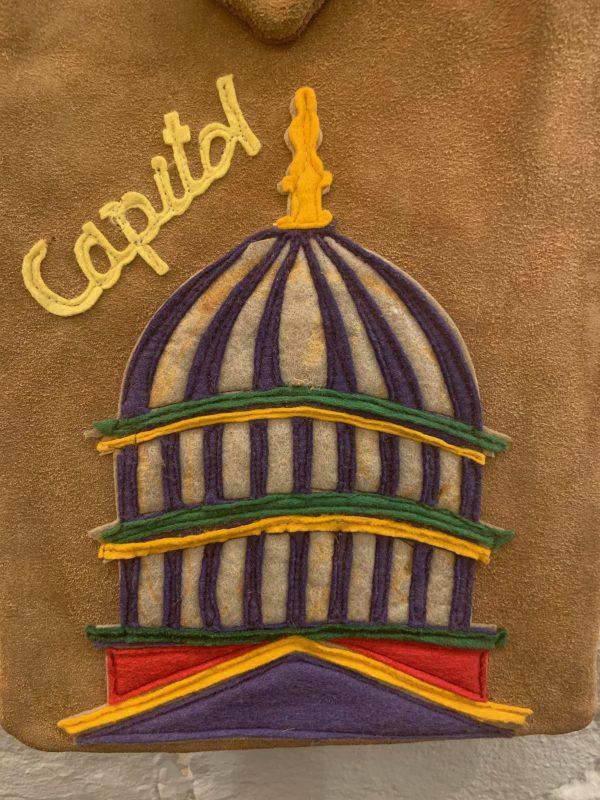 Suede Shoulder Bag with Hand Embellished Decoration