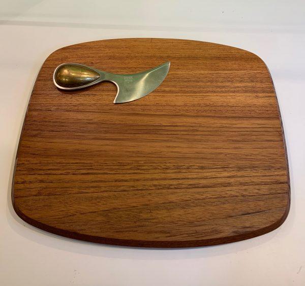 Teak Cheese Board with Knife by Vivianna Torun, Dansk, Denmark 1970s